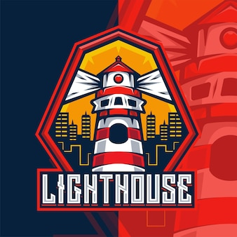 Leuchtturm maskottchen logo vorlage