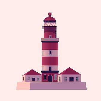 Leuchtturm meer leuchtfeuer haus Premium Vektoren