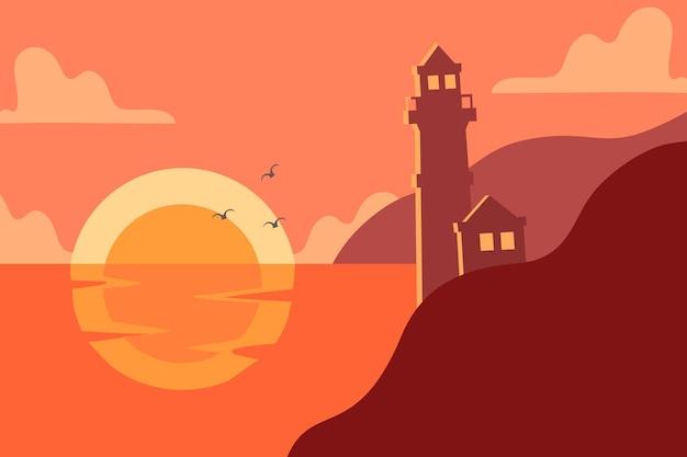 Leuchtturm mit dem landschaftshintergrund im silhouette-premium-vektor, der für mehrere zwecke geeignet ist