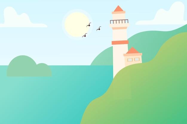 Leuchtturm mit dem landschaftshintergrund-premiumvektor, der für mehrere zwecke geeignet ist