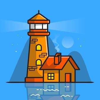 Leuchtturm mit hausbau-karikatur-vektor-symbol-illustration. gebäude im freien icon-konzept isoliert premium-vektor. flacher cartoon-stil