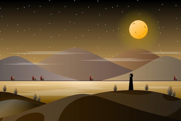 Leuchtturm mit himmel- und seehintergrund