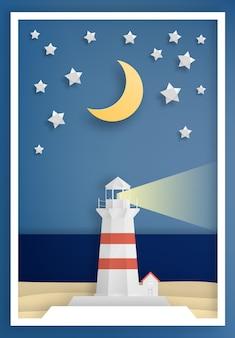 Leuchtturm mit Ozeanhintergrundrahmenpapierkunstart