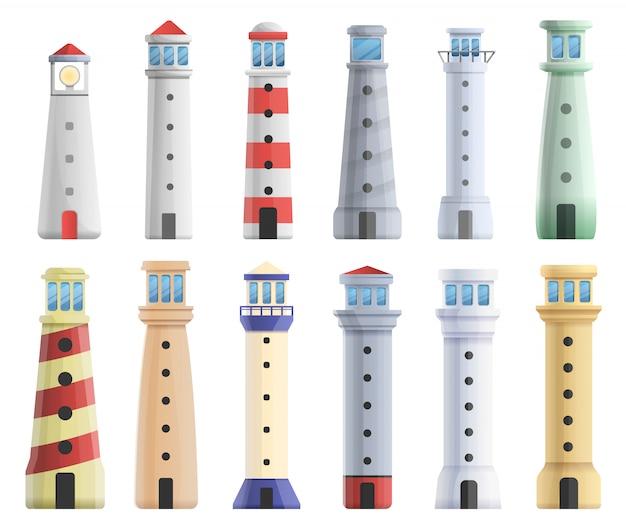 Leuchtturm-set, cartoon-stil