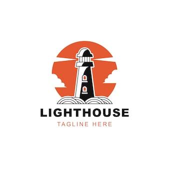Leuchtturm sonnenwolken logo design