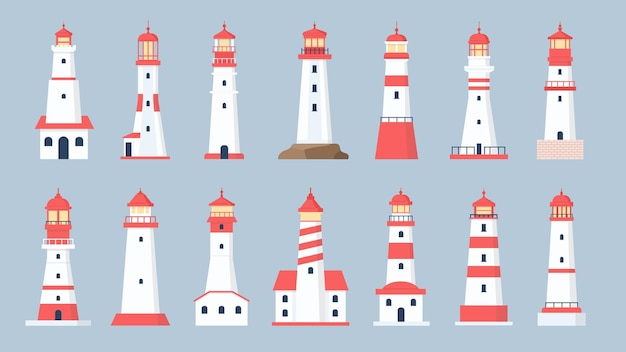 Leuchtturm türme. cartoon-see-leuchtfeuer-design. küstenschifffahrtshaus mit strahlendem suchscheinwerfersignal. flache leuchttürme vektor-set. illustration leuchtfeuer und leuchtturm an der küste