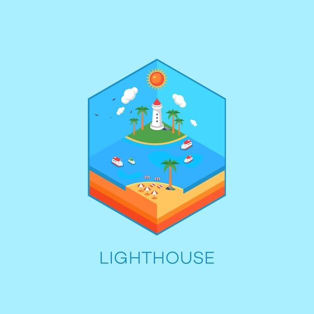 Leuchtturm und oceane isometrisch
