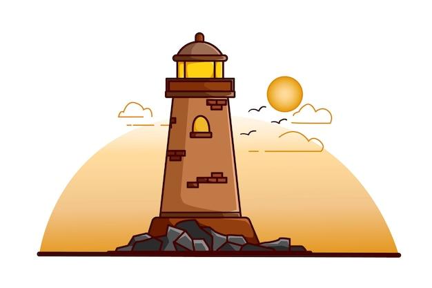 Leuchtturmillustration am nachmittag