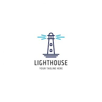 Leuchtturmlogo-designschablonen-vektorillustration