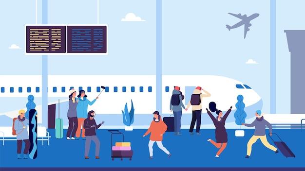 Leute am flughafen mit koffern.