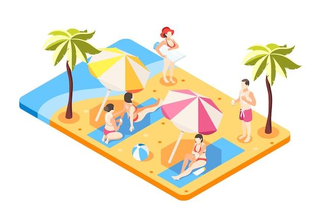 Leute am strand. sommerurlaub