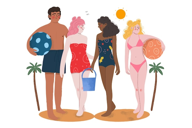 Leute am strand
