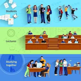 Leute an den flachen horizontalen fahnen der universität mit den studenten, die zusammen studieren