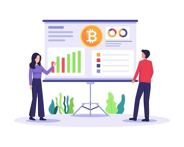 Leute analysieren chart digitalen börsenhandel krypto-börse und blockchain-technologie