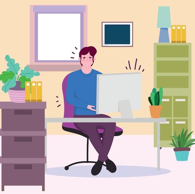 Leute arbeiten, mann, der am computer in der büroillustration arbeitet