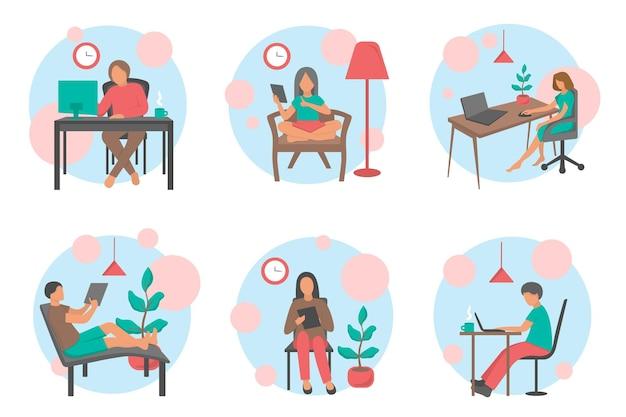 Leute arbeiten zu hause bürovektor flache illustration. freiberuflicher charakter, der vom heimarbeitsplatz aus arbeitet. freiberufler für junge männer und frauen, die an laptops arbeiten.