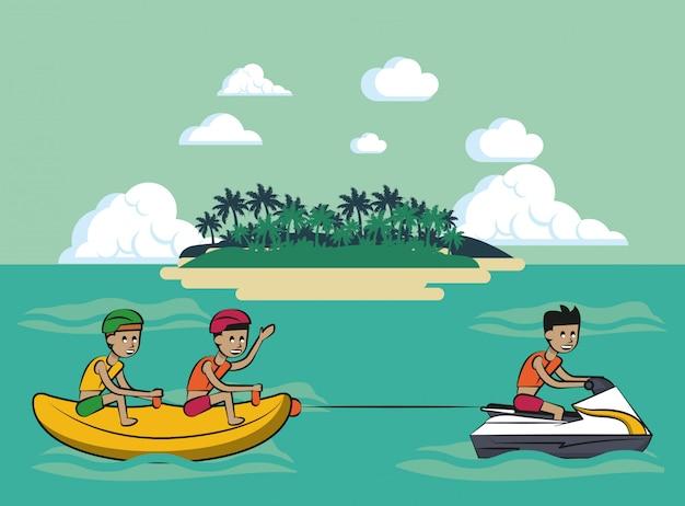 Leute auf bananenboot in meer