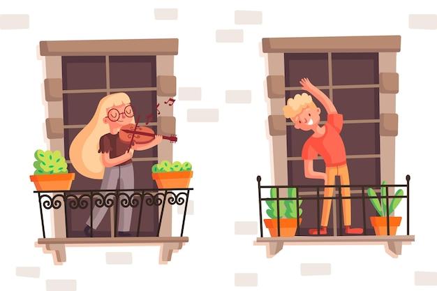 Leute auf dem balkon, die veilchen spielen und sport treiben
