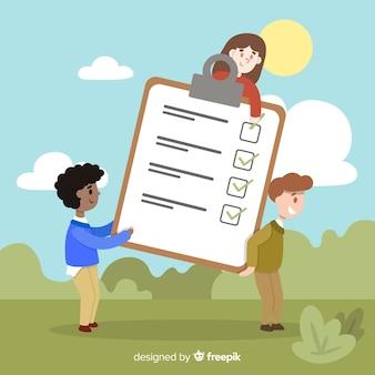 Leute auf dem gebiet riesigen checklistenhintergrund überprüfend