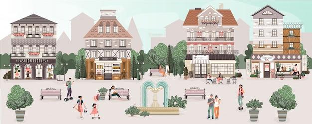 Leute auf dem zentralen platz der niedlichen alten stadt, illustration
