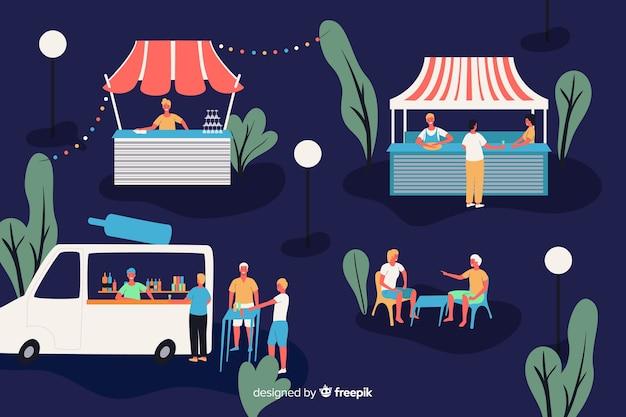 Leute auf einer nachtmesse