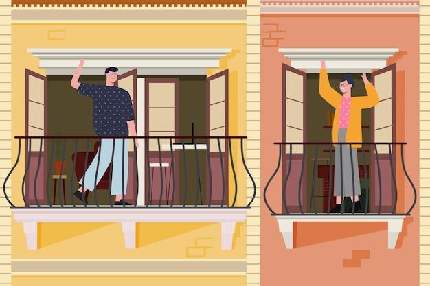 Leute auf ihren balkonen winken