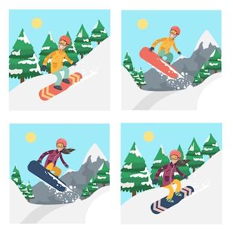Leute auf snowboard gesetzt. extremsportaktivitäten im winter.