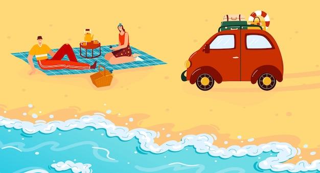 Leute auf sommerstrandlagerpicknickillustration. cartoon wohnung glücklich mann frau camper traveller charaktere essen picknick essen in der nähe von reise auto anhänger, sommer strandurlaub
