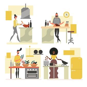 Leute bei der küchensammlung