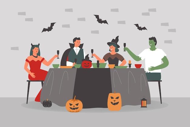 Leute beim gruseligen halloween-dinner