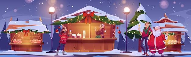 Leute besuchen weihnachtsmarkt mit weihnachtsmann