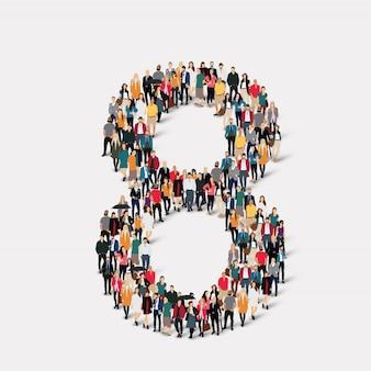 Leute bilden nummer acht. crowd-point-gruppe, die eine vorbestimmte form bildet.