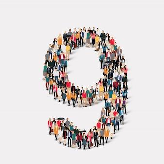 Leute bilden nummer neun. crowd-point-gruppe, die eine vorbestimmte form bildet.
