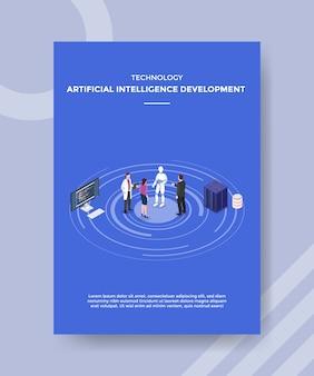 Leute der entwicklung der künstlichen intelligenz der technologie, die frontroboter stehen