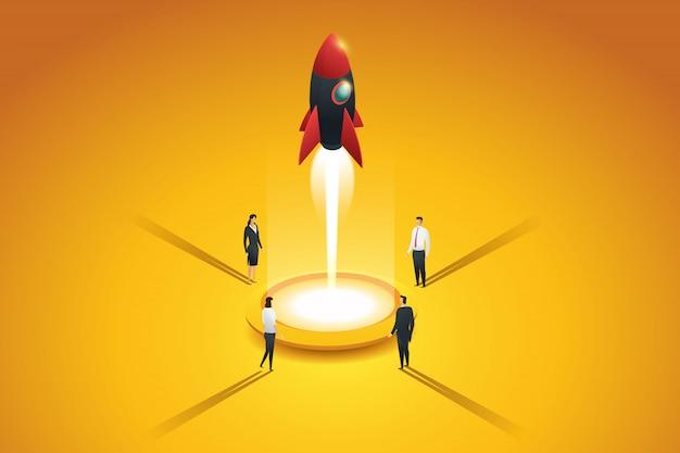 Leute der startup-geschäftsgruppe, die eine rakete starten. flaches 3d isometrisches konzept. illustration