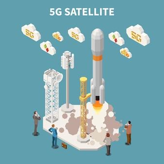 Leute, die 5g-internet-satelliten beobachten, der isometrische illustration startet