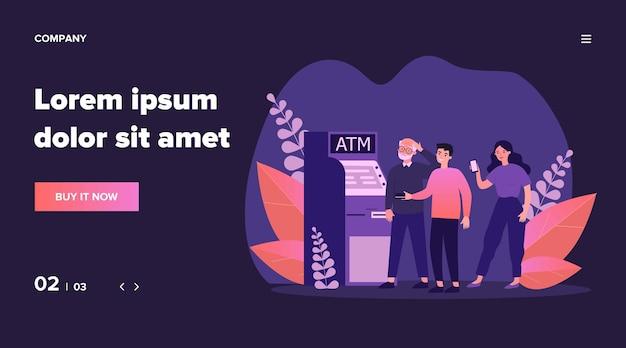 Leute, die älteren mann am geldautomaten helfen. verwirrter opa, kreditkarte, mobile app unter verwendung der illustration. unterstützung für alte leute, bankkonzept für banner, website oder landing-webseite