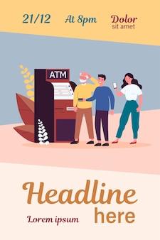 Leute, die älteren mann am geldautomaten helfen