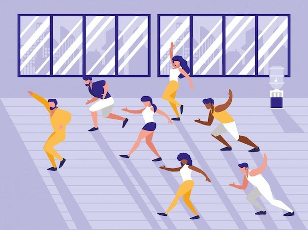 Leute, die aerobic-avatar-charakter machen