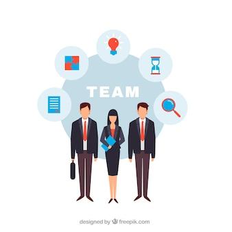 Leute, die als teamhintergrund in der flachen art arbeiten