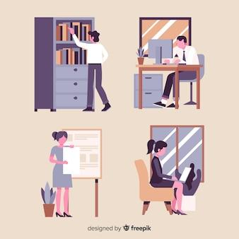 Leute, die am flachen design des büros arbeiten