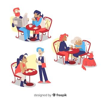 Leute, die am flachen design des cafés sitzen