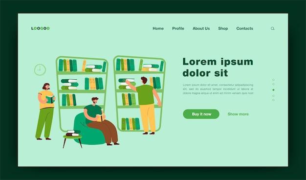 Leute, die an bücherregalen sitzen und bücher in der buchhandlung lesen. studenten, die in der bibliothek studieren. illustration