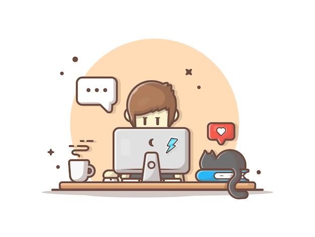 Leute, die an computer mit heißer kaffee-, katzen- und buch-ikonen-illustration arbeiten
