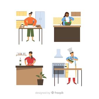 Leute, die an der küchensammlung kochen