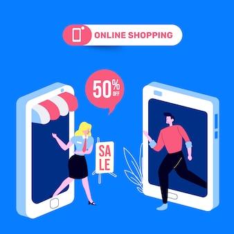 Leute, die an der on-line-speicher-illustration kaufen