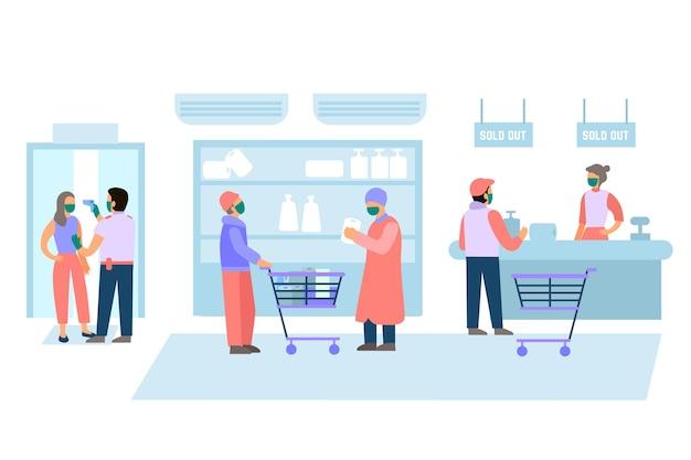 Leute, die an der supermarktillustration einkaufen