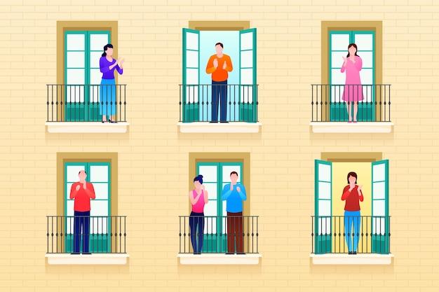 Leute, die auf balkone klatschen