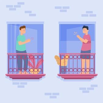Leute, die auf balkonillustration klatschen