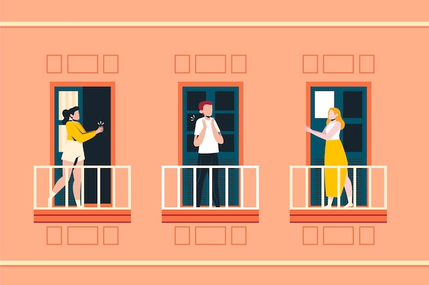Leute, die auf balkonkonzept klatschen